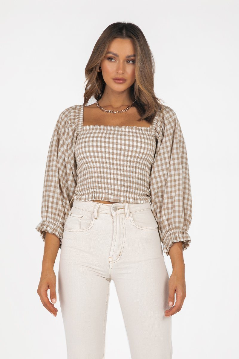 CEDAR CHOCOLATE CHECK SHIRRED TOP Clothing DISSH Boutiques