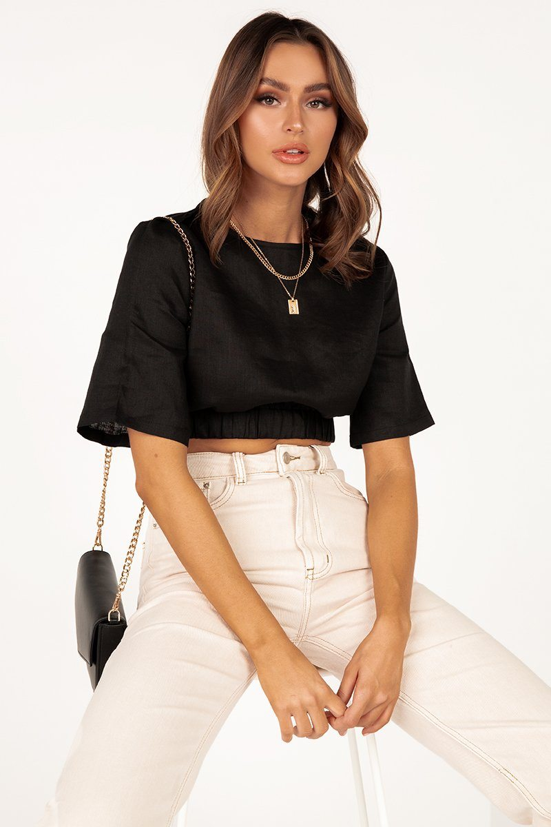 ALPHA BLACK LINEN CROP TOP Clothing DISSH Boutiques 14 BLACK
