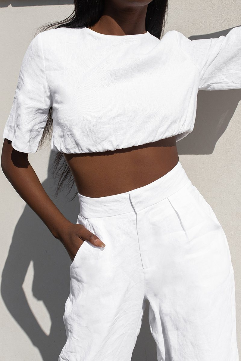 ALPHA WHITE LINEN CROP TOP Clothing DISSH Boutiques 6 WHITE
