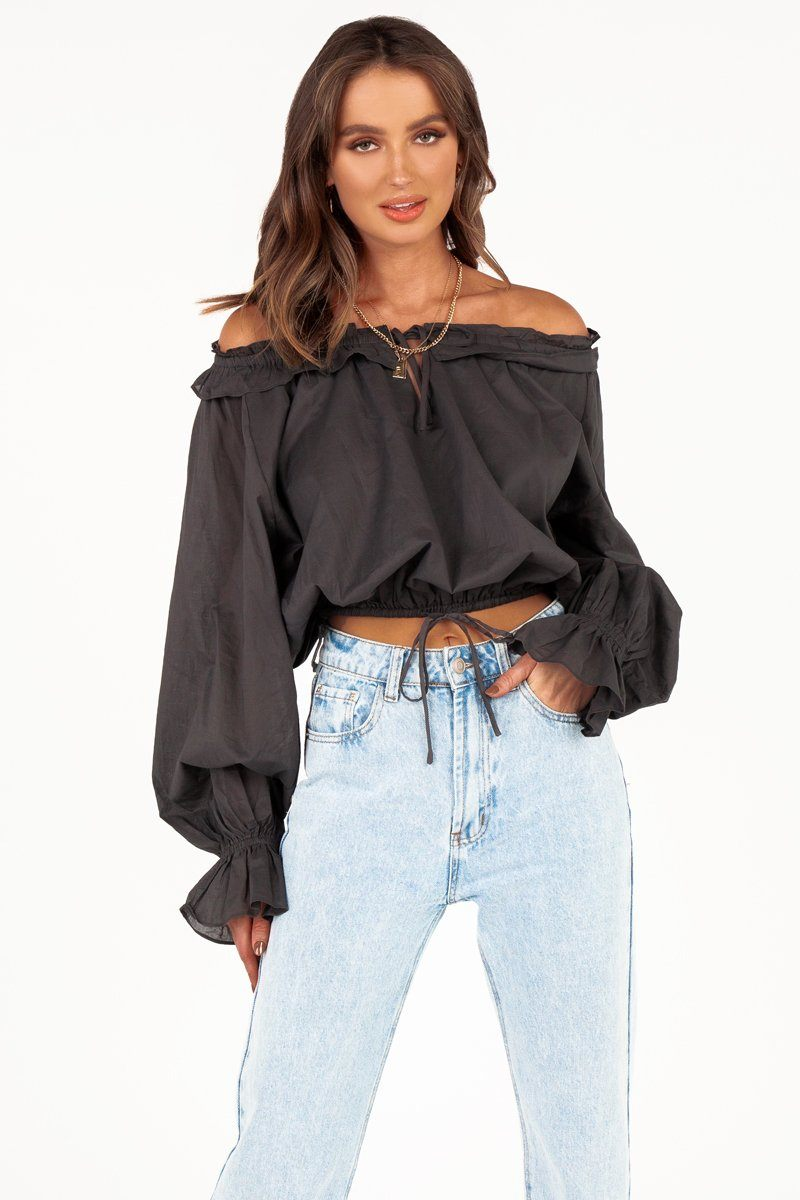 LIZZIE ASH SLOUCHY FRILL BLOUSE Clothing DISSH Boutiques 14 NAVY