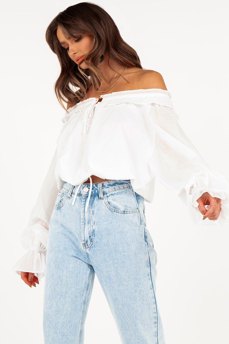 LIZZIE WHITE SLOUCHY FRILL BLOUSE Clothing DISSH Boutiques 6 WHITE