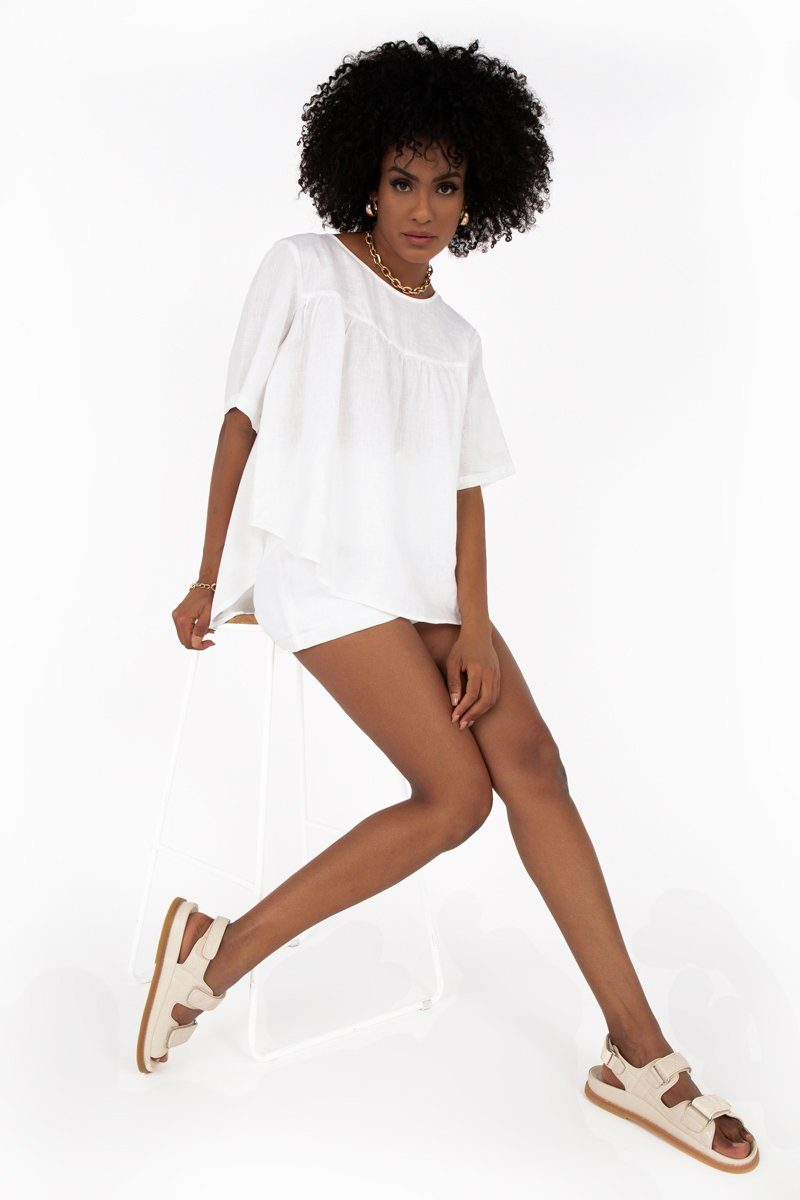 WILLOW WHITE LINEN BABYDOLL TOP Clothing DISSH Boutiques 14 WHITE