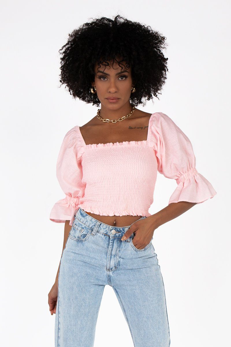 SIENNA SOFT PINK LINEN SHIRRED TOP Clothing DISSH Boutiques 10 LIGHT PINK