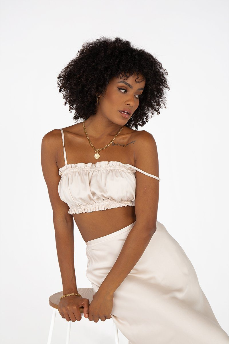 AGNES CREAM SATIN CROP TOP Clothing DISSH Boutiques