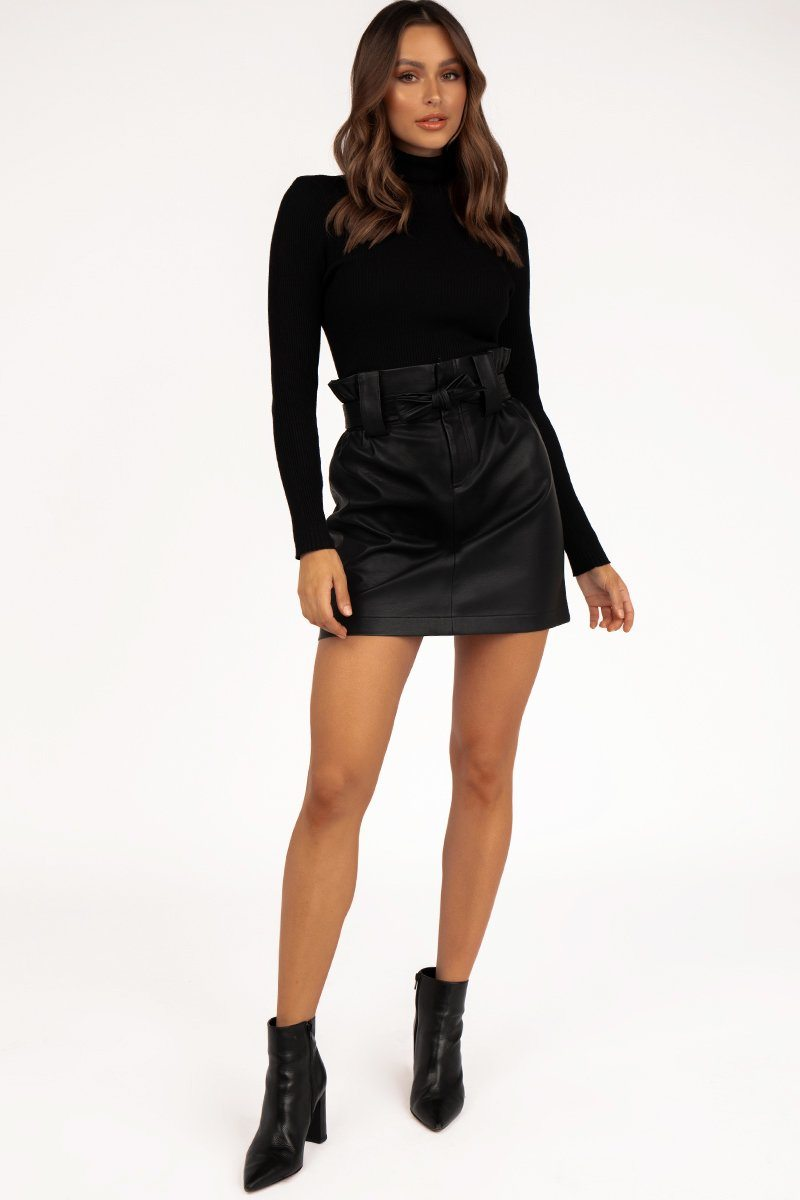 FRANKY BLACK FAUX LEATHER SKIRT Clothing DISSH Boutiques 10 BLACK