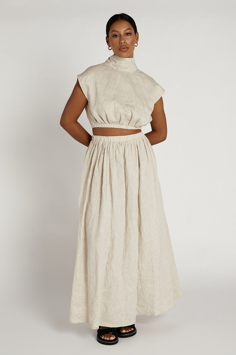 DYLAN NATURAL LINEN MIDI SKIRT Clothing DISSH Boutiques