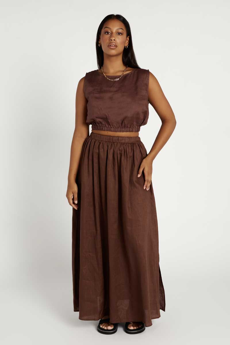 DYLAN CHOCOLATE LINEN MIDI SKIRT Clothing DISSH Boutiques 8 CHOCOLATE