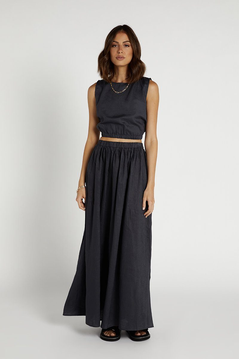 DYLAN INK LINEN MIDI SKIRT Clothing DISSH Boutiques