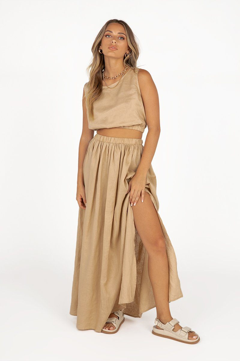 DYLAN STONE LINEN MIDI SKIRT Clothing DISSH Boutiques