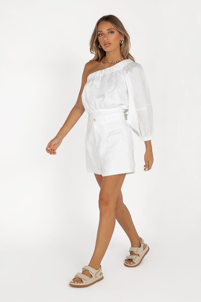 DOLLY WHITE LINEN SHORT Clothing DISSH Boutiques 6 WHITE