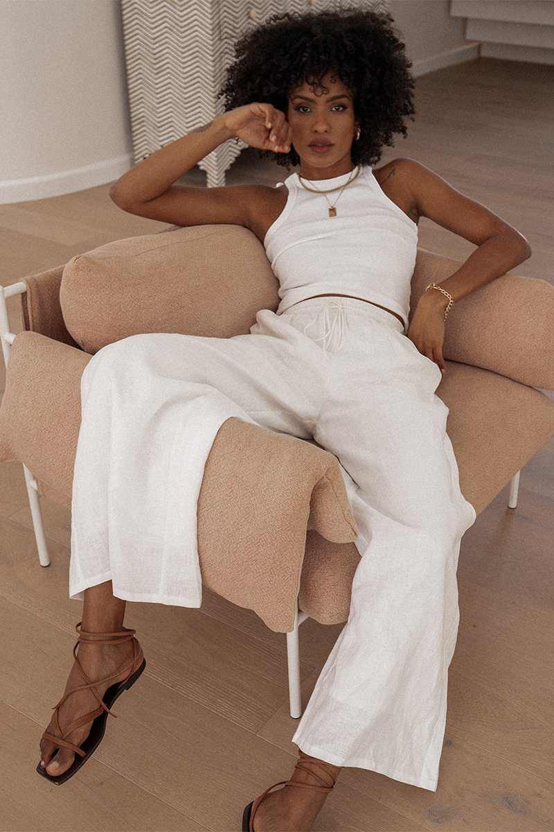 WEEKENDER WHITE LINEN WIDE LEG PANT Clothing DISSH Boutiques 6 WHITE