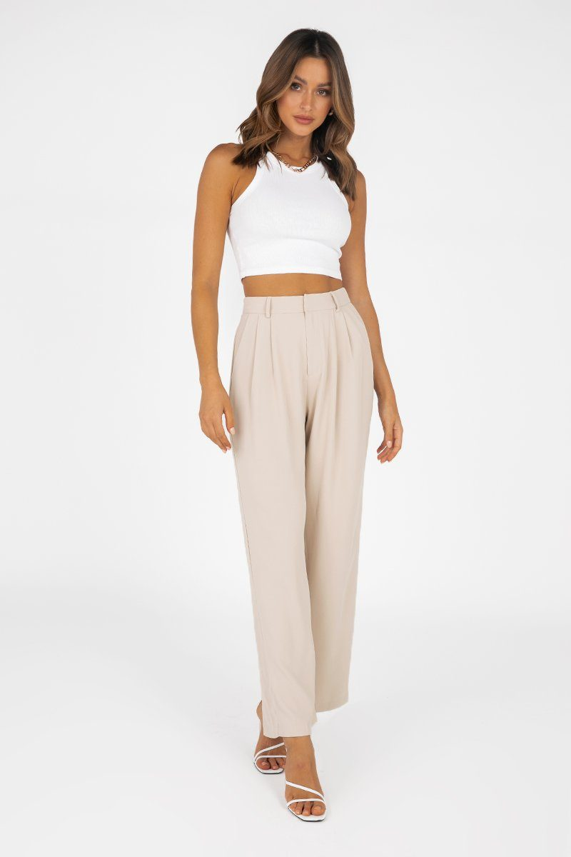 MELROSE BEIGE PLEATED PANT Clothing DISSH Boutiques