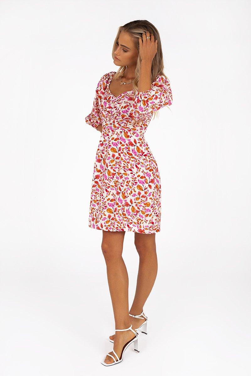 PALOMA PINK FLORAL MINI DRESS Clothing DISSH EXCLUSIVE 12 PINK