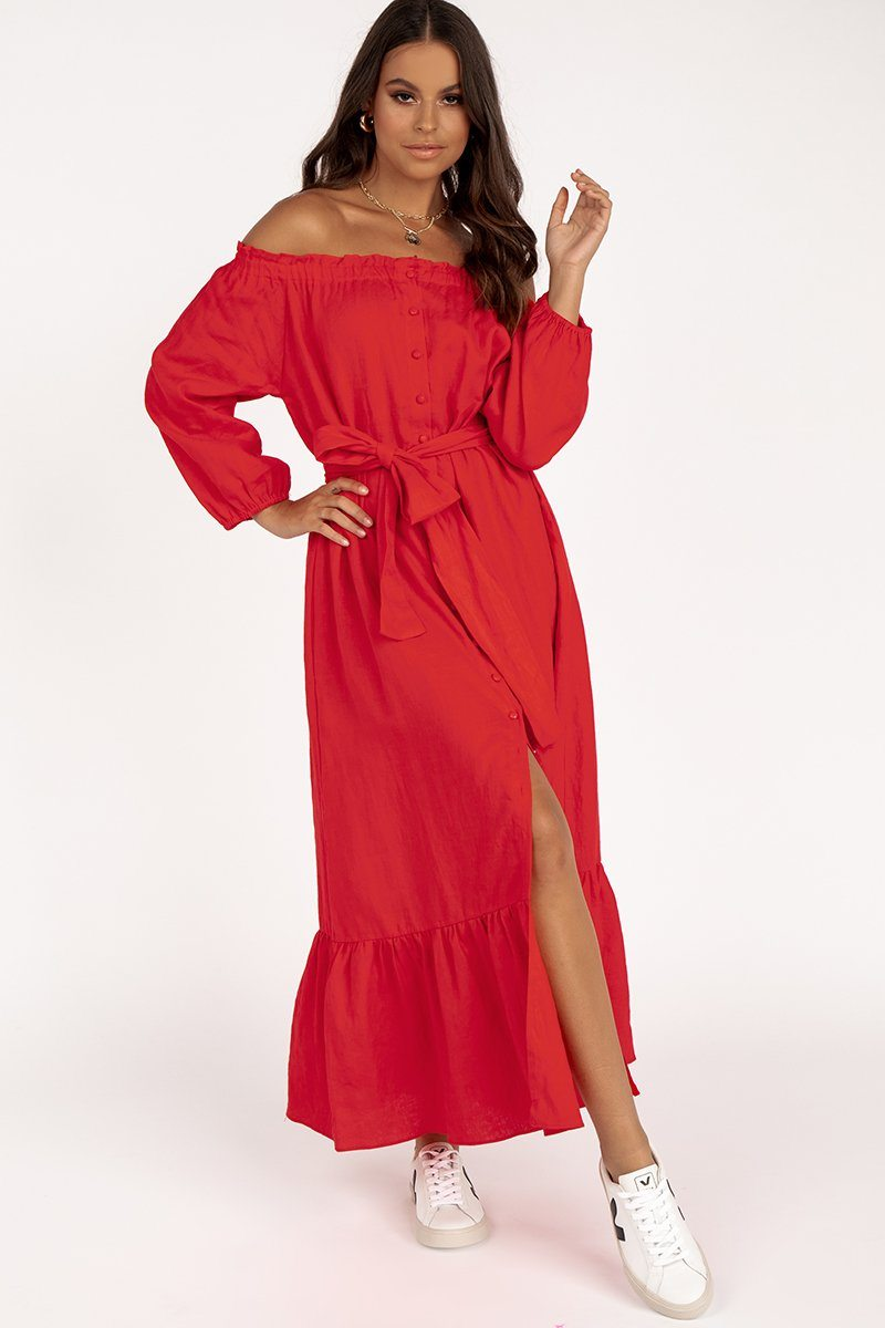 LAGUNA RED LINEN MIDI DRESS Clothing DISSH Boutiques 14 RED