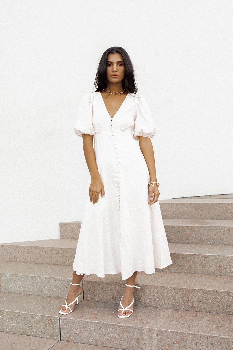 RAE ALMOND LINEN MIDI DRESS Clothing DISSH Boutiques 6 ALMOND
