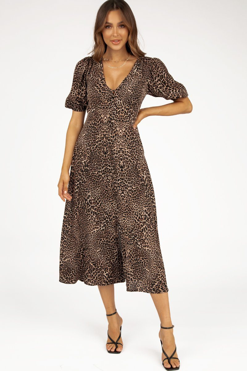 ZOE BROWN LEOPARD BUTTON MIDI DRESS Clothing DISSH Boutiques 14 BROWN
