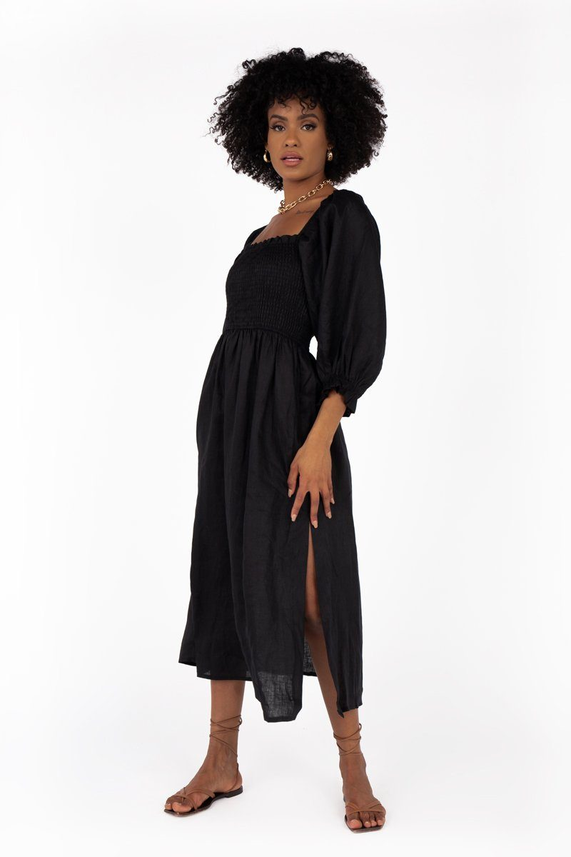 DUSK SHIRRED BLACK LINEN MIDI DRESS Clothing DISSH Boutiques