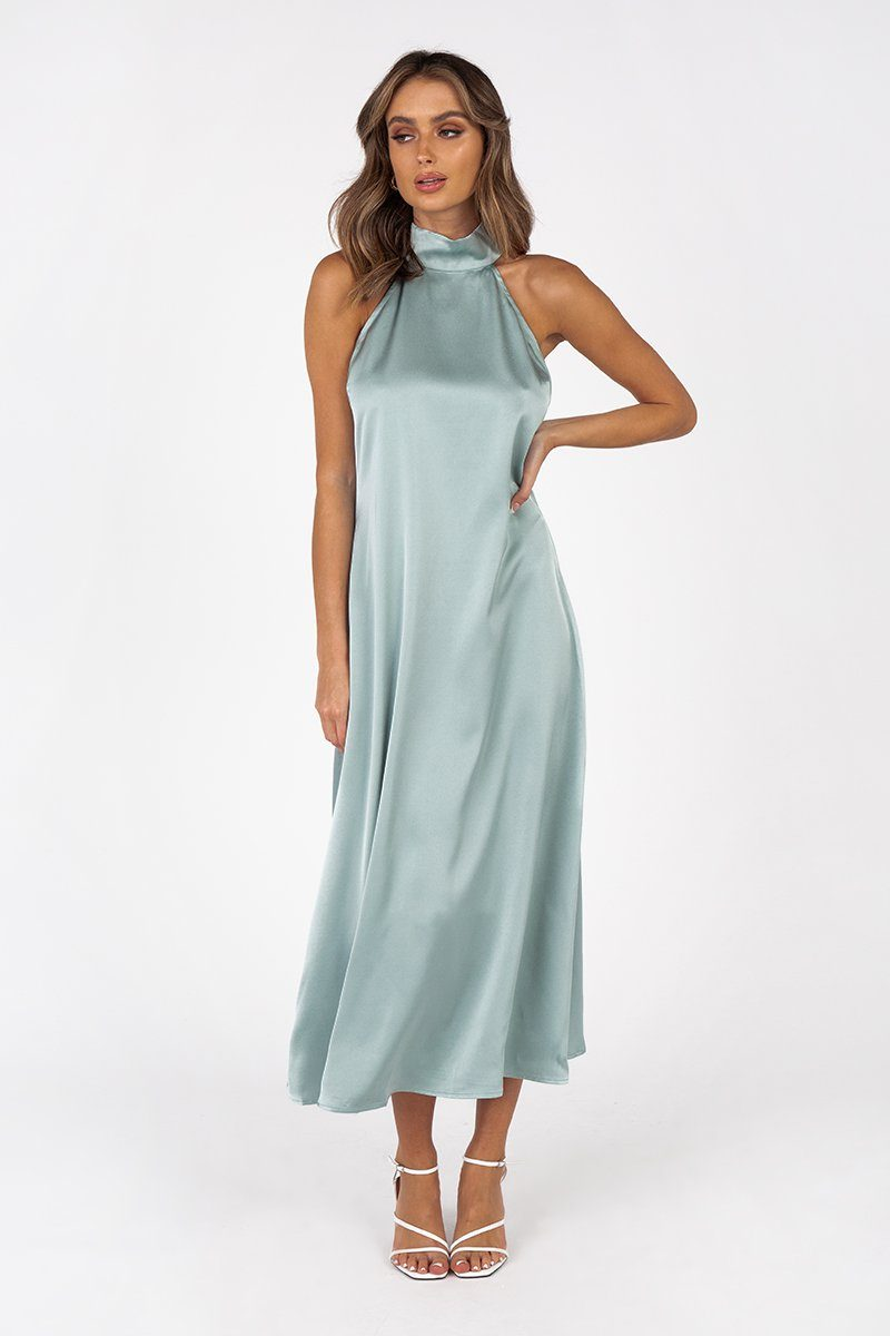 EVA SOFT AQUA HIGH NECK MIDI DRESS Clothing DISSH Boutiques 6 AQUA