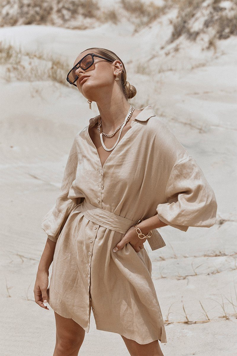 LIBBY STONE LINEN SHIRT DRESS Clothing DISSH Boutiques