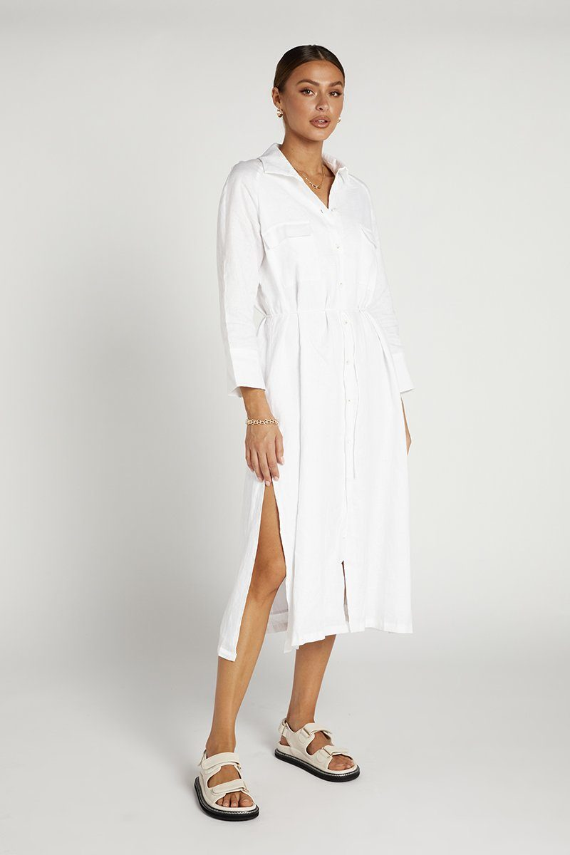 PENNY WHITE LINEN SHIRT DRESS Clothing DISSH Boutiques