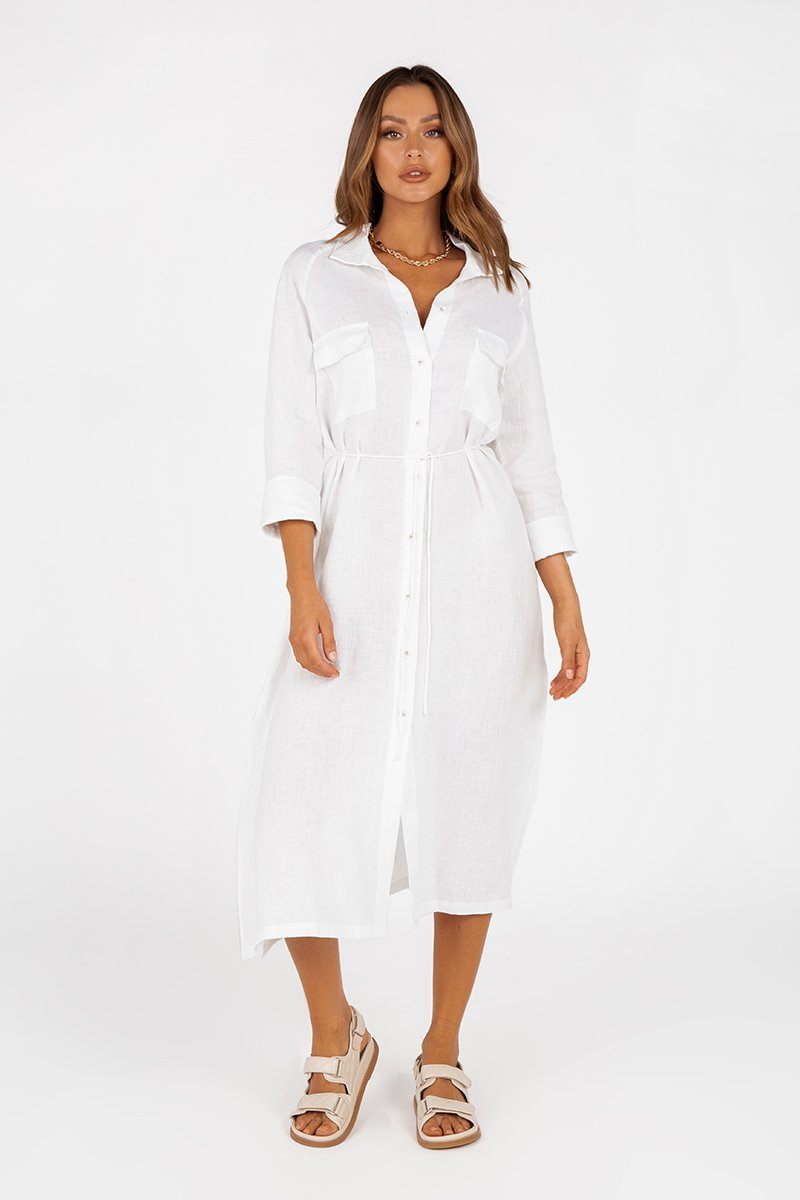 PERRY WHITE LINEN SHIRT MIDI DRESS Clothing DISSH Boutiques 16 WHITE