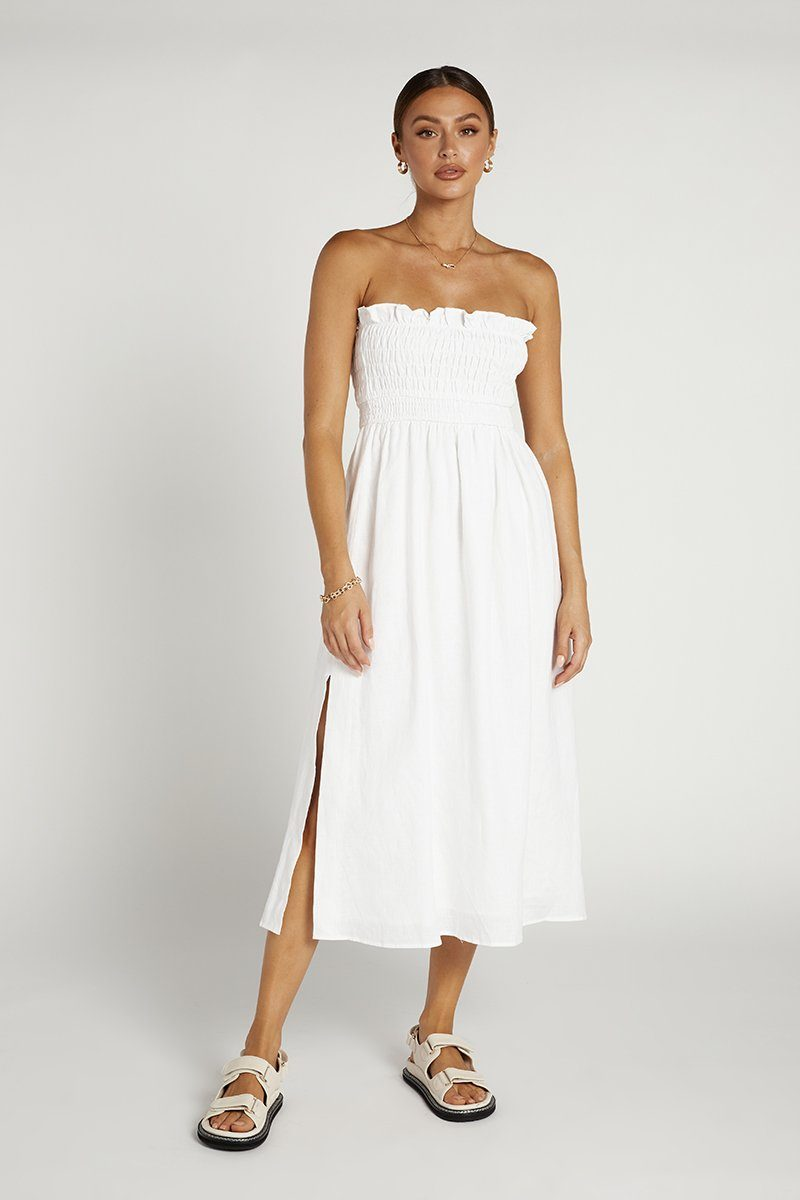 THEA WHITE SHIRRED LINEN MIDI DRESS Clothing DISSH Boutiques