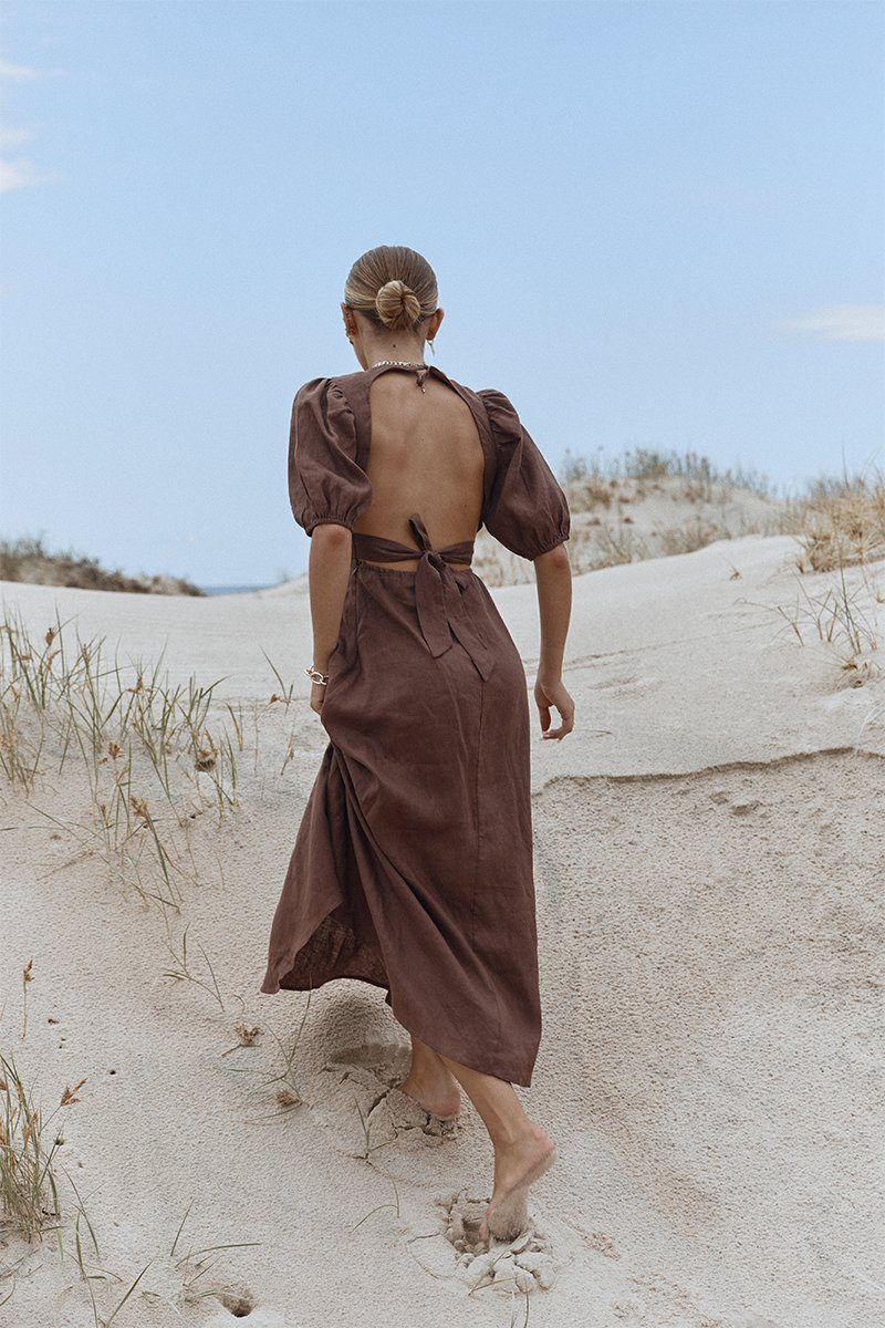 REMI CHOCOLATE LINEN MIDI DRESS Clothing PREORDER