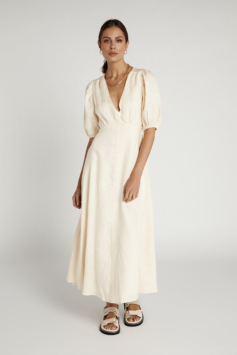 REMI CREAM LINEN MIDI DRESS Clothing DISSH Boutiques