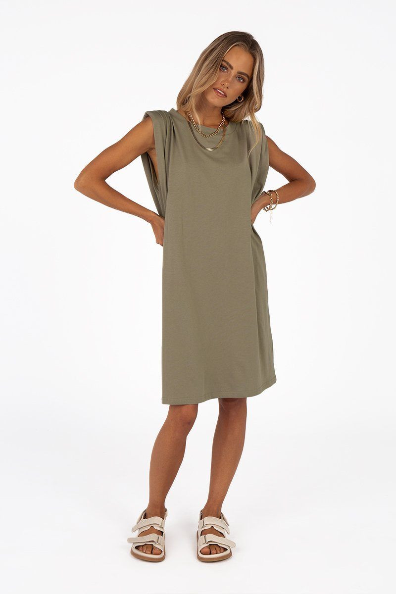 AIDEN KHAKI JERSEY MINI DRESS Clothing DISSH Boutiques 14 KHAKI