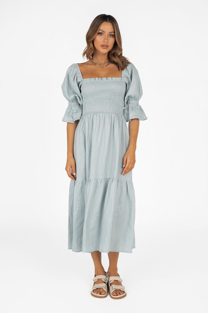 SARE SHIRRED ICE BLUE LINEN DRESS Clothing PREORDER
