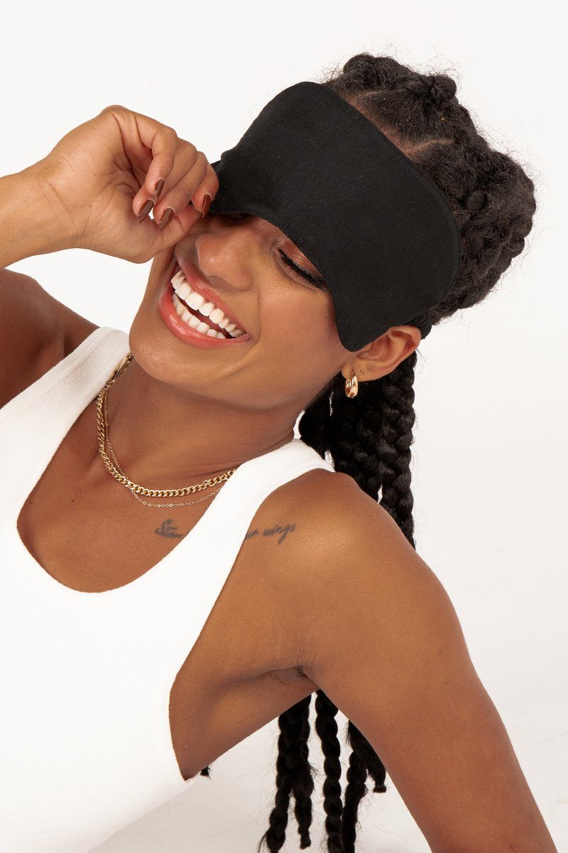 MODA BLACK LINEN SLEEP MASK Clothing DISSH EXCLUSIVE O/S BLACK
