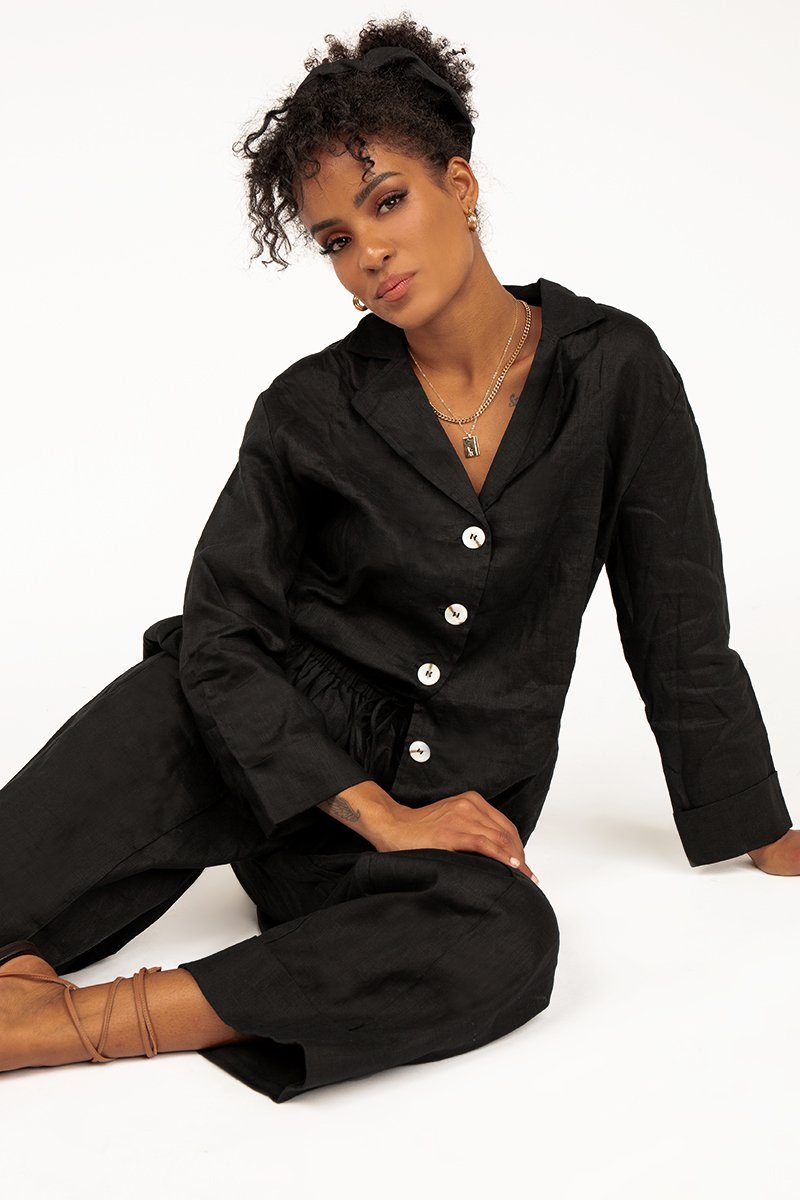 MODA BLACK LINEN SHIRT Clothing DISSH Boutiques M BLACK