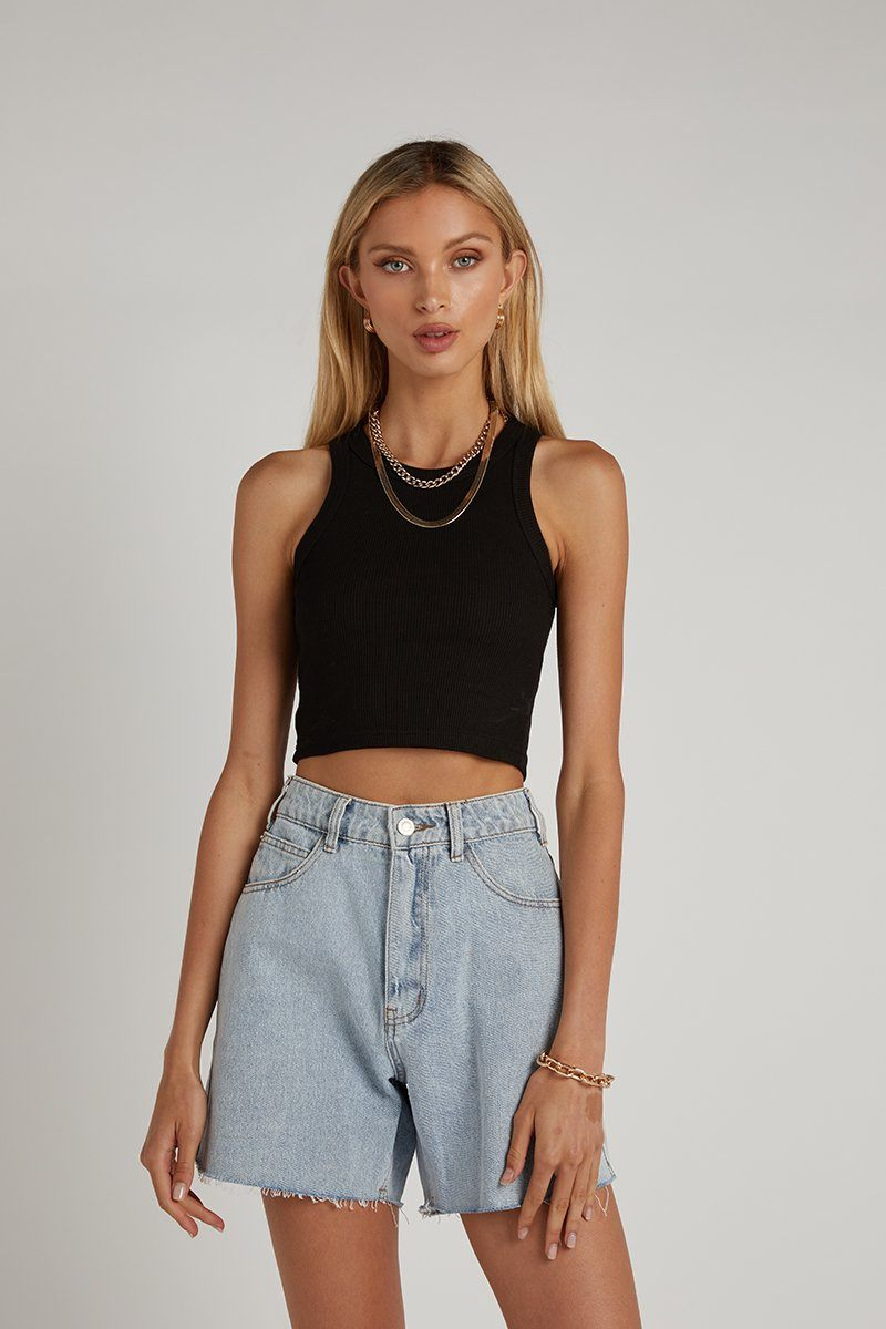 ICONIC CROP BLACK KNIT TOP Clothing DISSH Boutiques