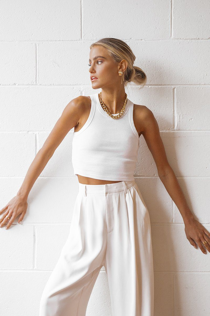 ICONIC CROP WHITE KNIT TOP Clothing DISSH Boutiques 12 WHITE