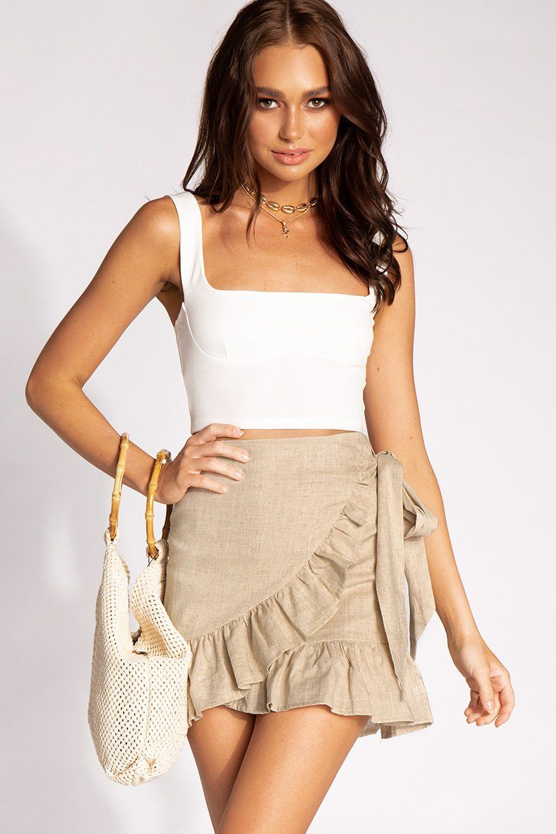 DUFFY WRAP FRILL SKIRT Clothing DISSH ALL DAY 6 NATURAL