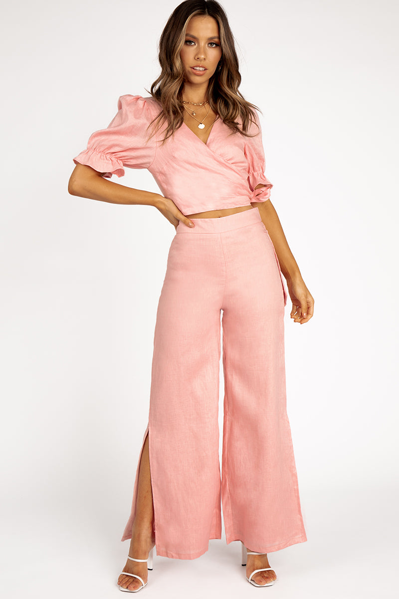 YOU GROW SOFT PINK LINEN PANT