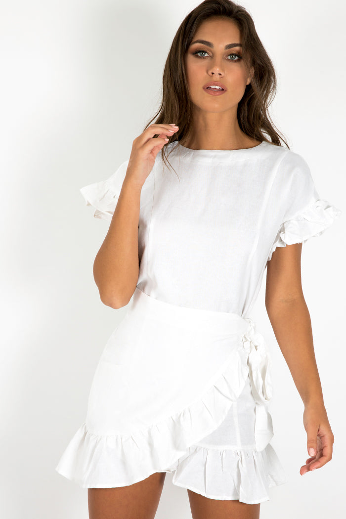 DONT RUSH FRILL DRESS Clothing DISSH EXCLUSIVE 10 WHITE