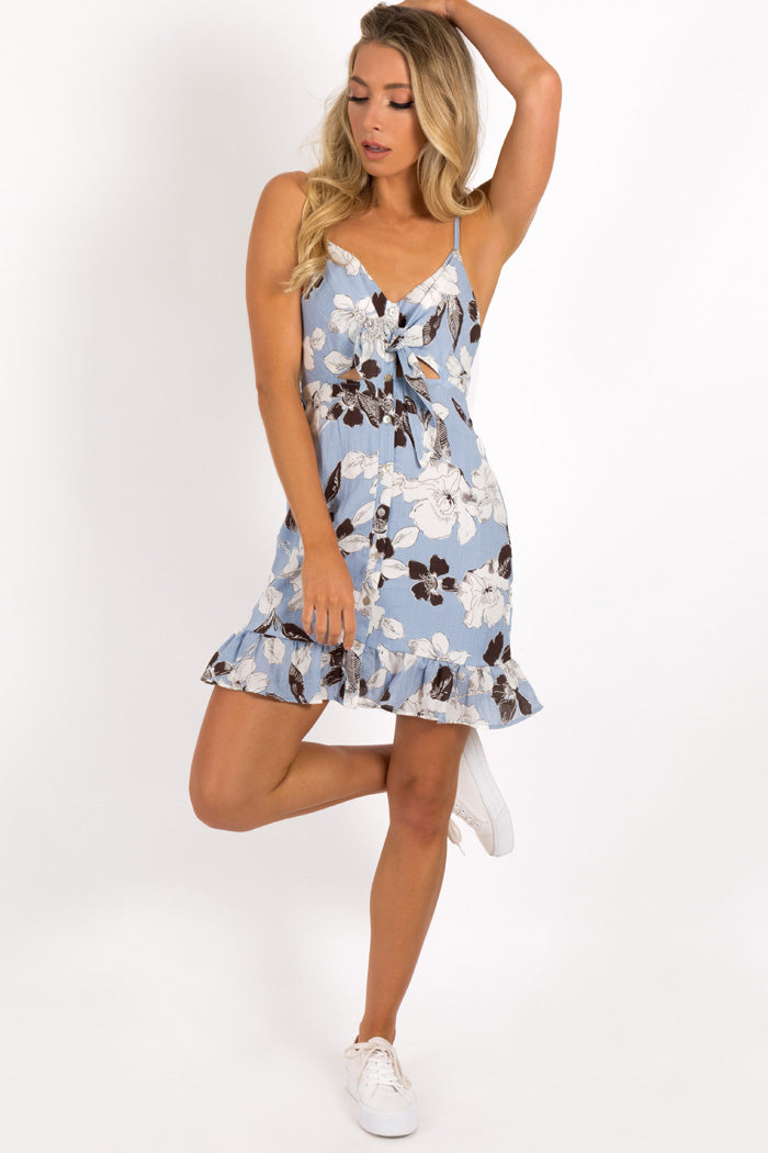 MY EVERYTHING TIE FRONT DRESS Clothing LA VIE BOHEME 6 BLUE