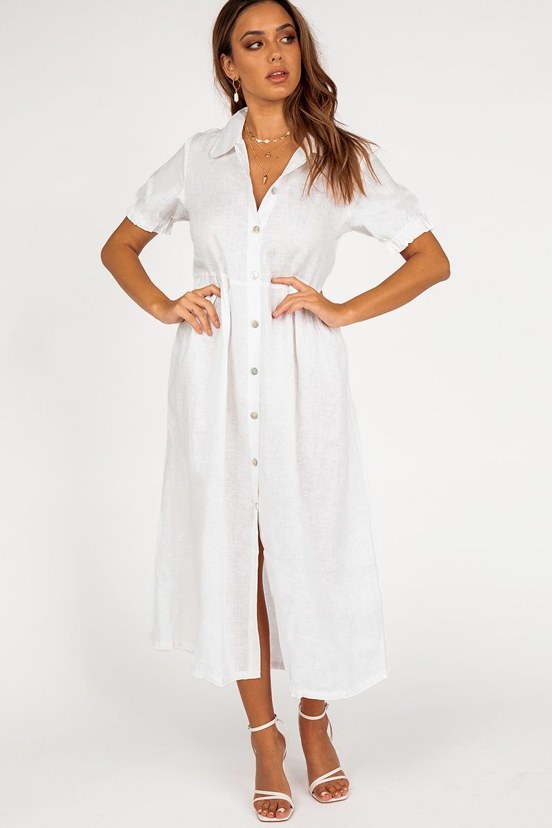 SOHO WHITE LINEN MIDI DRESS