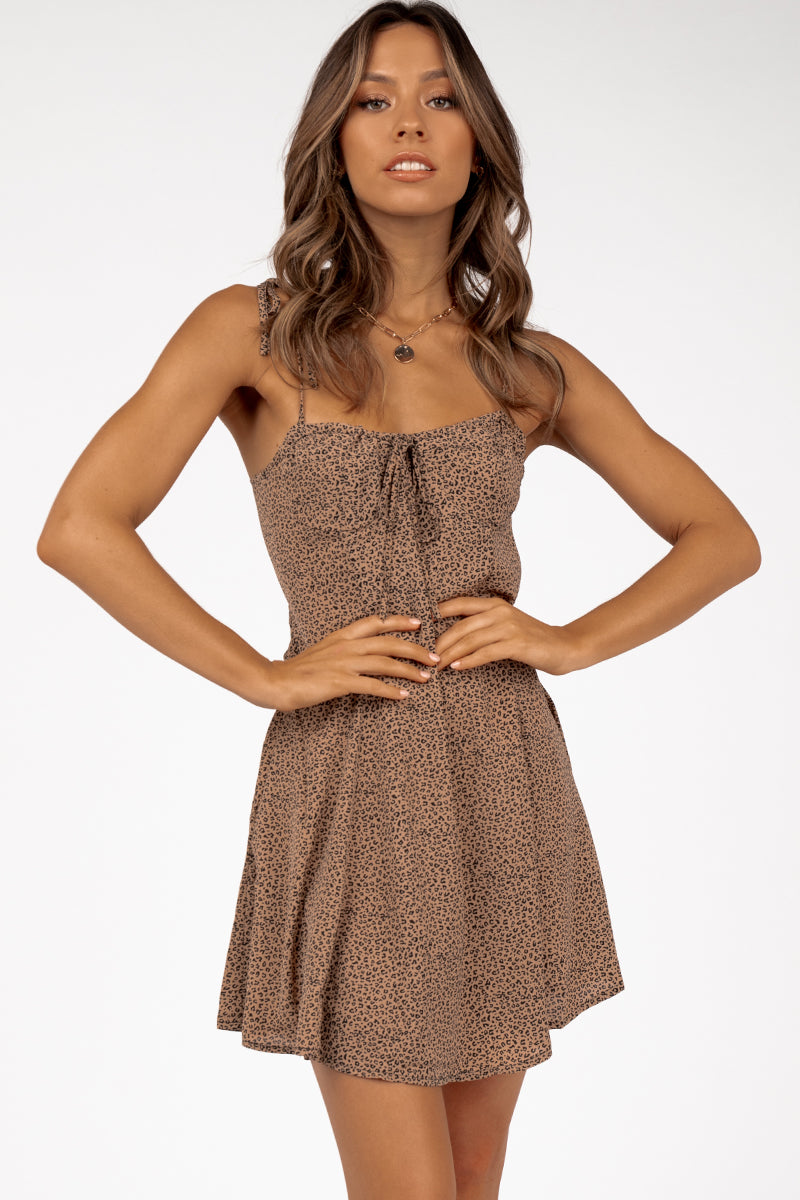 MELODY TAN LEOPARD MINI DRESS Clothing DISSH Boutiques 10 TAN