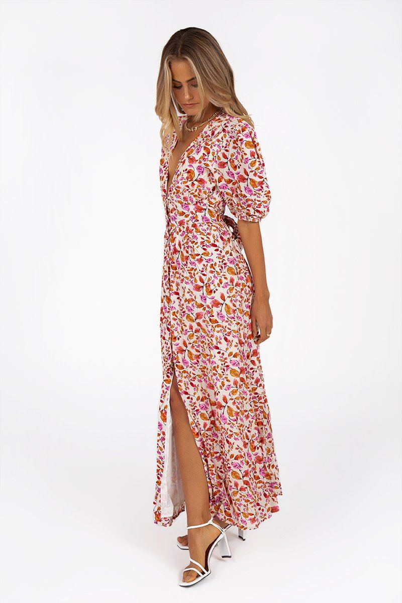 PALOMA PINK FLORAL MIDI DRESS Clothing DISSH EXCLUSIVE 8 PINK