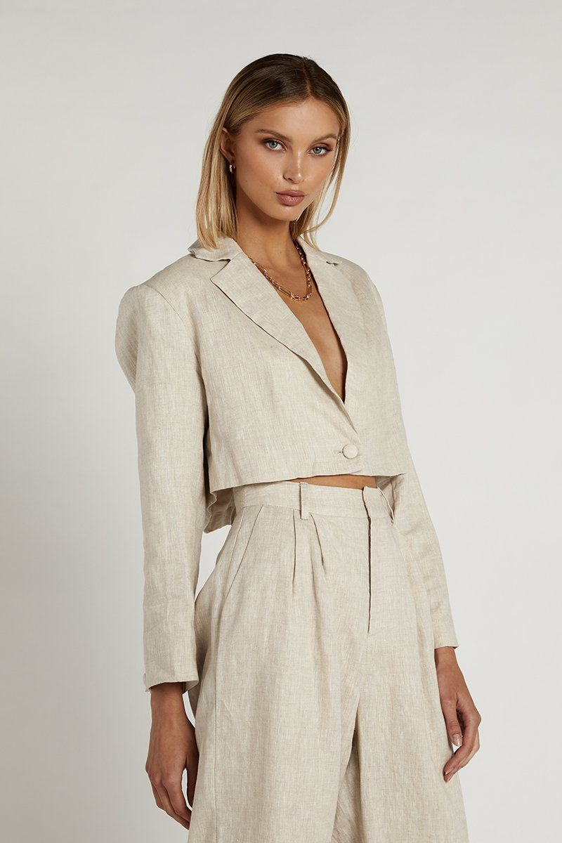 ANDRA NATURAL LINEN CROPPED BLAZER Clothing DISSH Boutiques 14 NATURAL