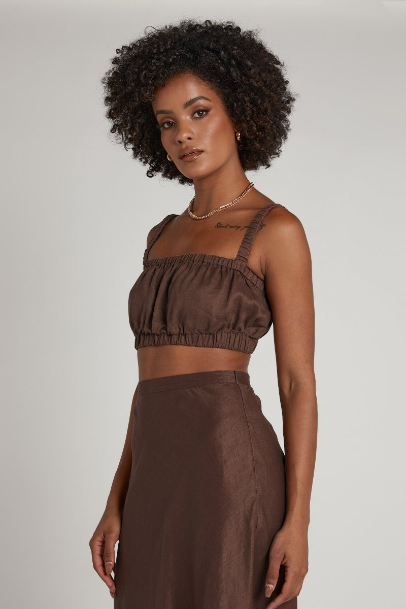 HAVANA CHOCOLATE LINEN CROP Clothing DISSH Boutiques