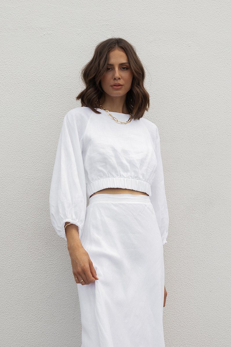 KARA WHITE LINEN CROP TOP Clothing DISSH Boutiques