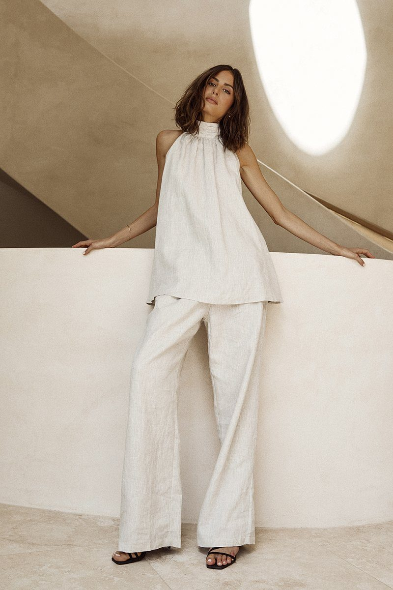 STELLA NATURAL LINEN TUNIC TOP Clothing DISSH Boutiques 6 NATURAL
