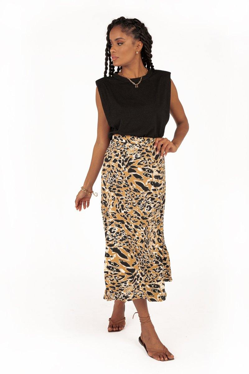 SAMSON ANIMAL SLIP MIDI SKIRT