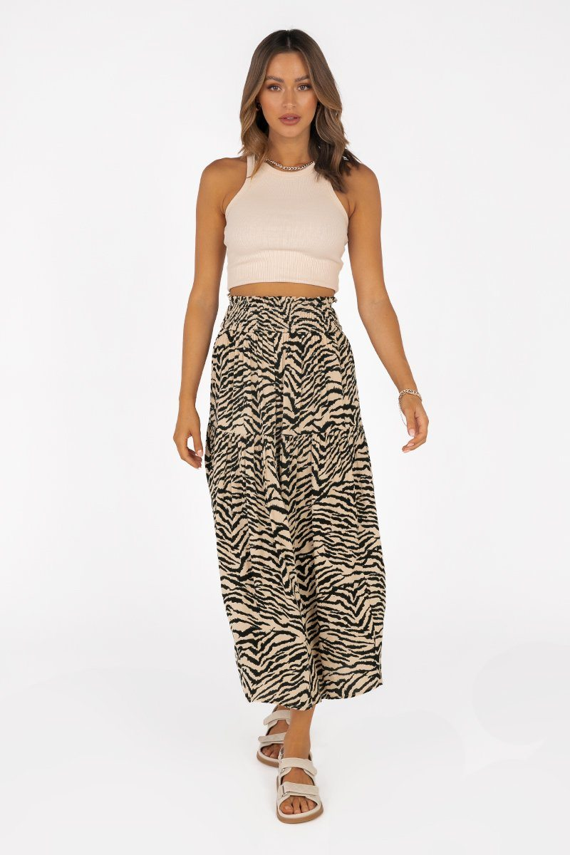TORI BEIGE ZEBRA SHIRRED MIDI SKIRT Clothing DISSH Boutiques