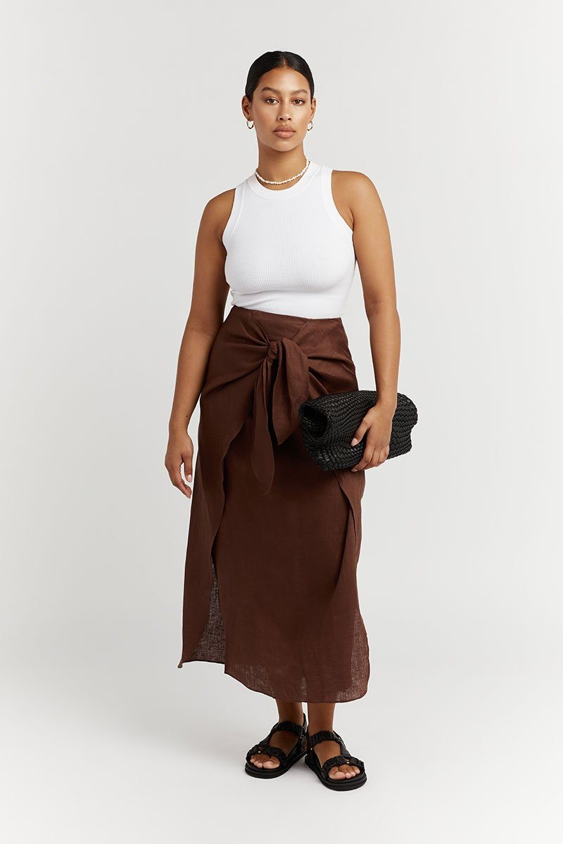 LIVVY CHOCOLATE LINEN MIDI SKIRT Clothing DISSH EXCLUSIVE 14 CHOCOLATE