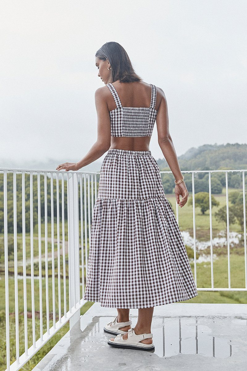 AUGUST CHOCOLATE GINGHAM MIDI SKIRT Clothing DISSH Boutiques