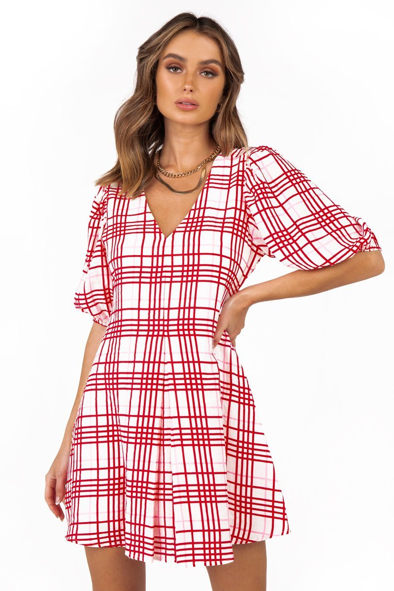 EMME PINK CHECK MINI DRESS